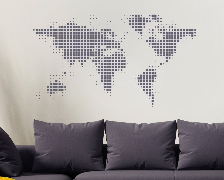 Fashionable Maps Wall Art Inside World Map Wall Sticker – World Wall Sticker – World Map – World (View 10 of 15)