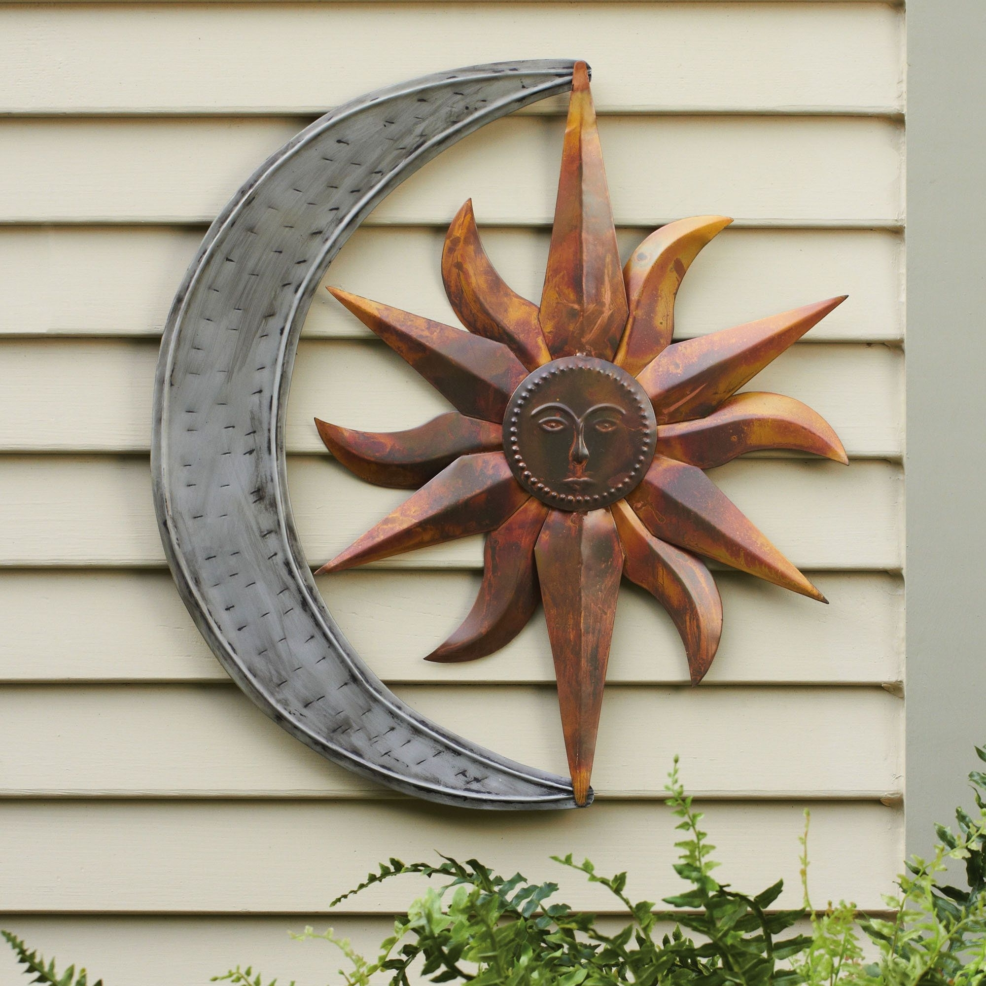 Fashionable Metal Outdoor Wall Art with regard to Sun And Moon Indoor Outdoor Metal Wall Art