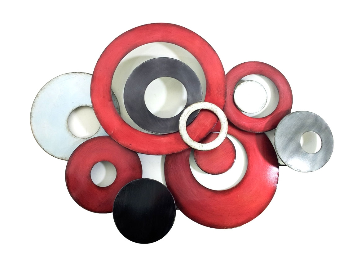 Fashionable Metal Wall Art – Red Linked Circle Disc Abstract Intended For Circle Wall Art (View 7 of 15)