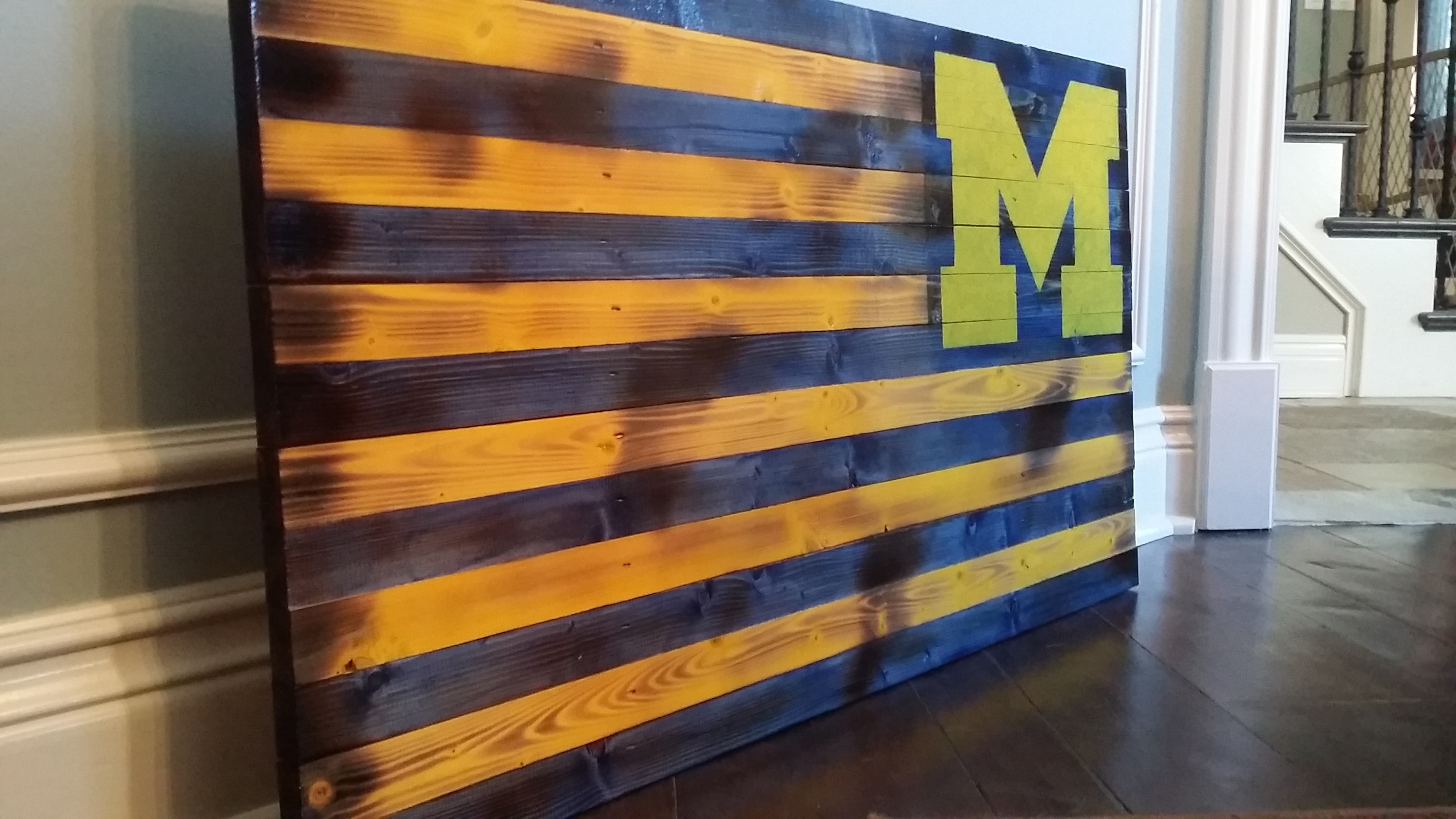 Fashionable Michigan Wall Art Throughout Rustic U Of M Flag (View 3 of 15)
