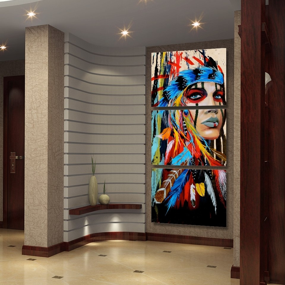 Fashionable Native American Wall Art With Canvas Wall Art Hd Prints Pictures 3 Pieces Native American Indian (View 4 of 15)