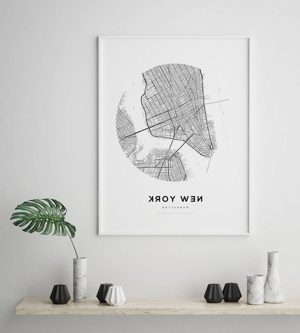 Fashionable New York City Map, Ny Map Art, Modern Minimalist, Nyc Map Poster In New York City Map Wall Art (View 5 of 15)