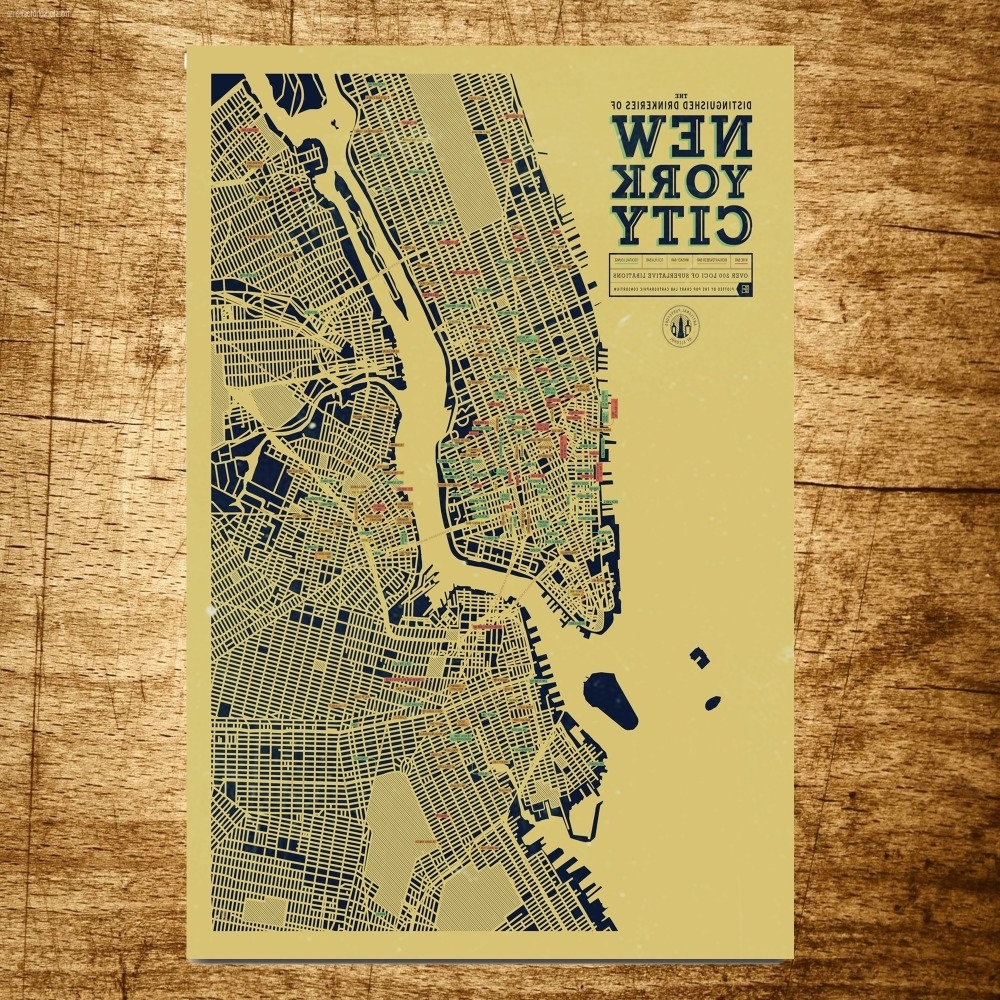 Fashionable New York City Map Wholesale Vintage Canvas Painting Modern Wall Art With New York City Map Wall Art (View 4 of 15)