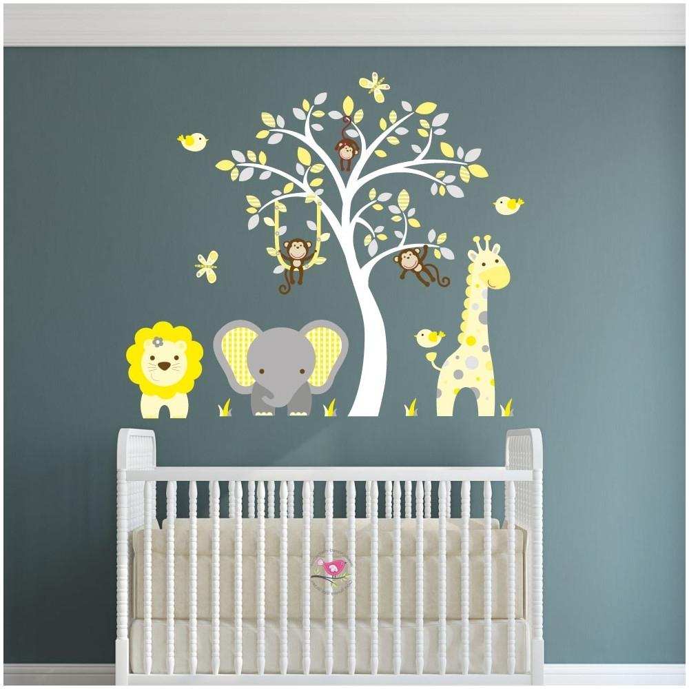 Fashionable Nursery Wall Art For Jungle Animal Nursery Wall Art Stickers (View 2 of 15)