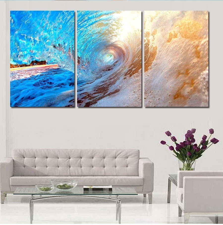 Fashionable Ocean Wall Art With 3 Plane Abstract Sea Wave Modern Home Decor Wall Art Canvas Blue (View 6 of 15)