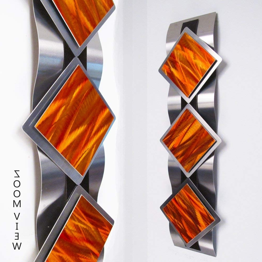 "Fashionable Orange Wall Art Throughout Amazon: ""mystic Reflections, Inferno"" Modern Abstract Metal Wall (View 4 of 15)"