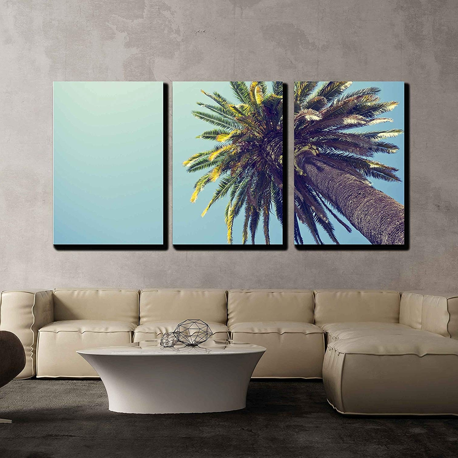 Fashionable Palm Tree In Retro Style Orange County California X3 Panels – Canvas Inside California Wall Art (View 6 of 15)