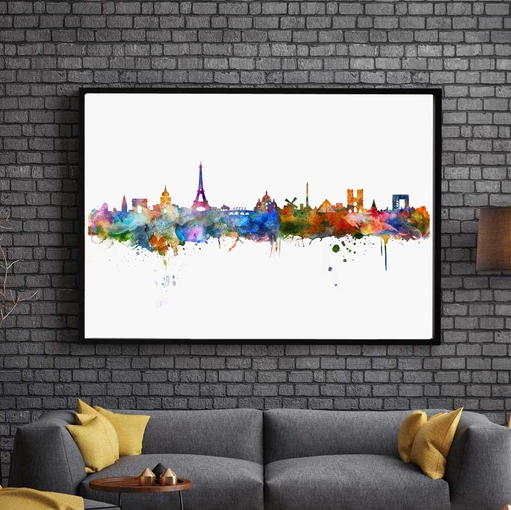 Fashionable Paris Watercolor Skyline City Poster Map Paris Wall Art Skyline With Map Of Paris Wall Art (View 4 of 15)
