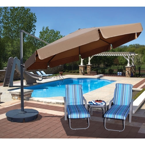 Fashionable Patio Umbrellas With Valance Throughout Island Umbrella Victoria 13 Ft (View 14 of 15)