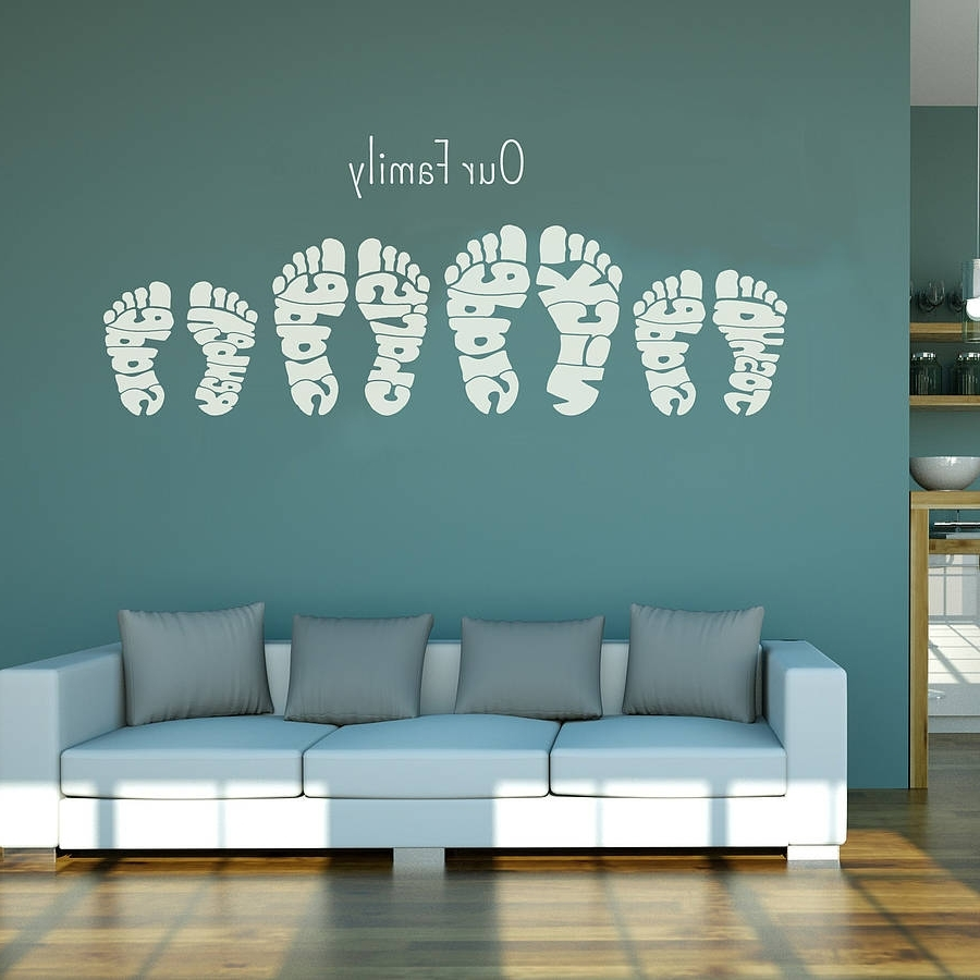 Fashionable Personalised Footprint Wall Art Stickersname Art Throughout Wall Art Stickers (View 3 of 15)