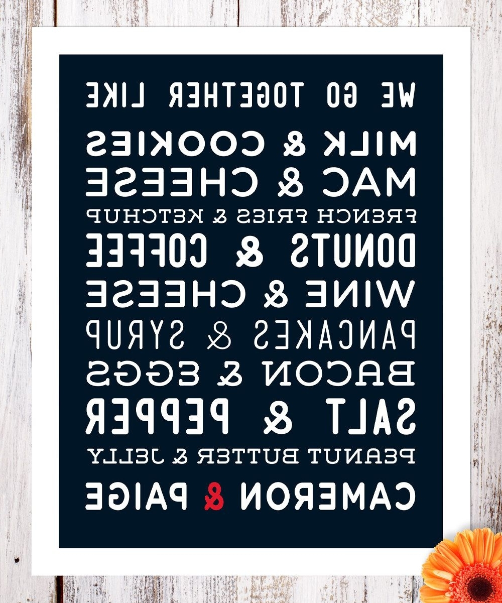 Fashionable Personalized Wall Art Within Birdrow Navy We Go Together Personalized Wall Art (View 11 of 15)