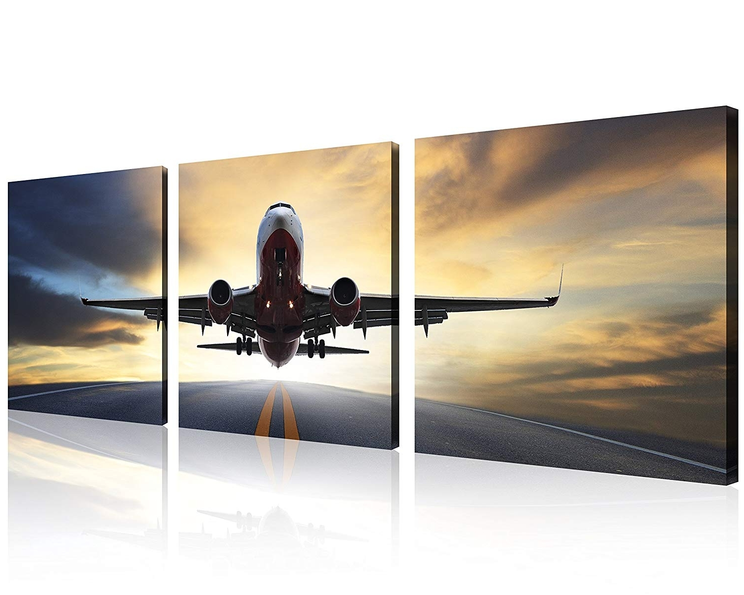 Fashionable Qicai Vintage Airplane Wall Art Decor At Sunset Old Paper Pictures In Airplane Wall Art (View 11 of 15)