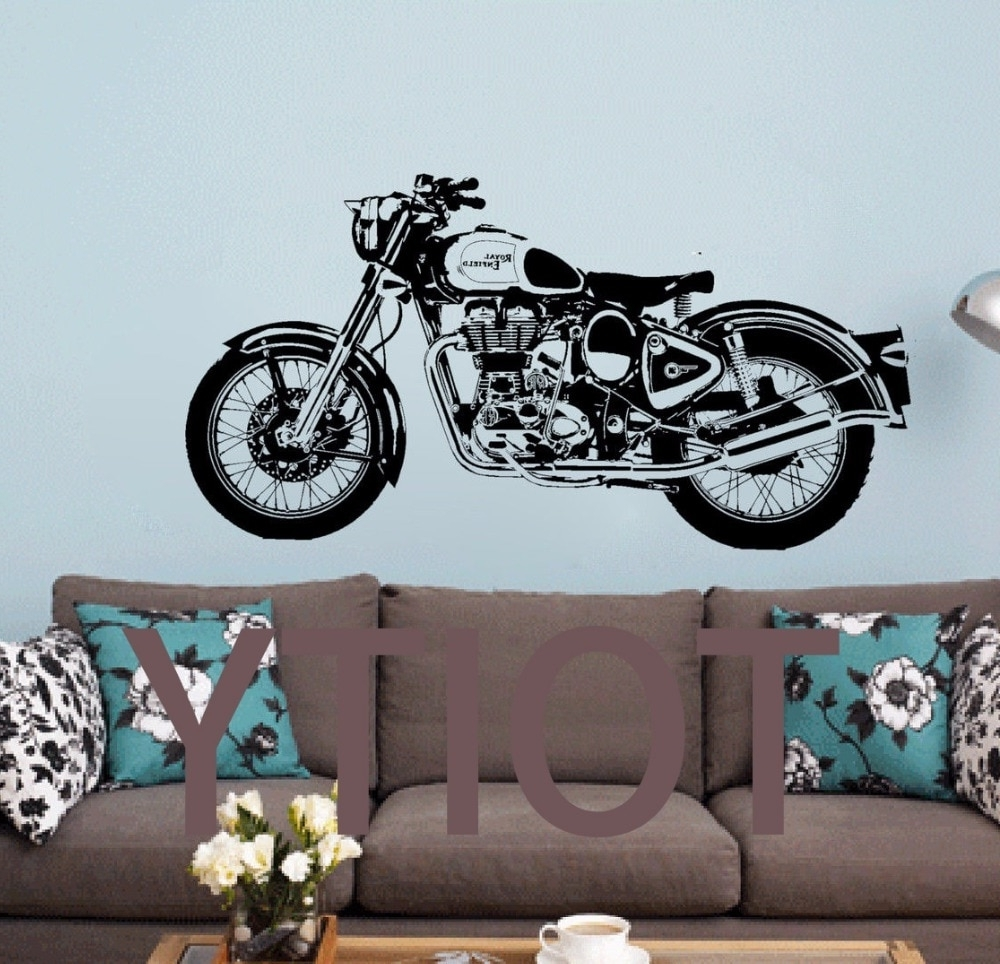 Fashionable Royal Enfield Motorbike Wall Art Sticker Classic English Motorcycle Throughout Motorcycle Wall Art (View 5 of 15)