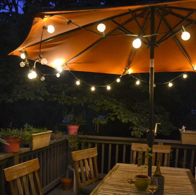 Fashionable Sunbrella Outdoor Light Fixtures Globe Solar Powered Garden Parasols Within Sunbrella Patio Umbrellas With Solar Lights (View 2 of 15)