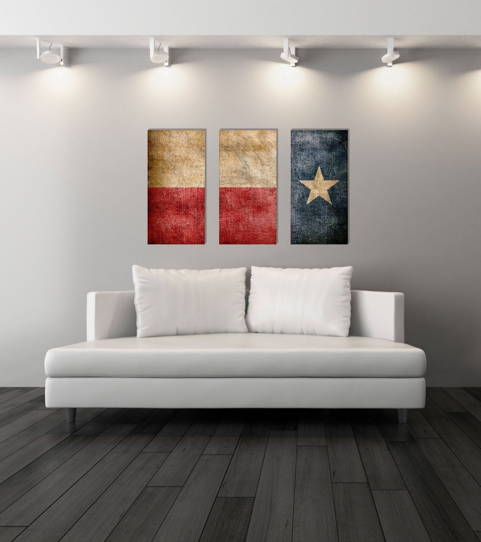 Fashionable Texas Wall Art Regarding Triptych Vintage Texas Flag, Panel Canvas Art, Vintage Texas, Wall (View 6 of 15)