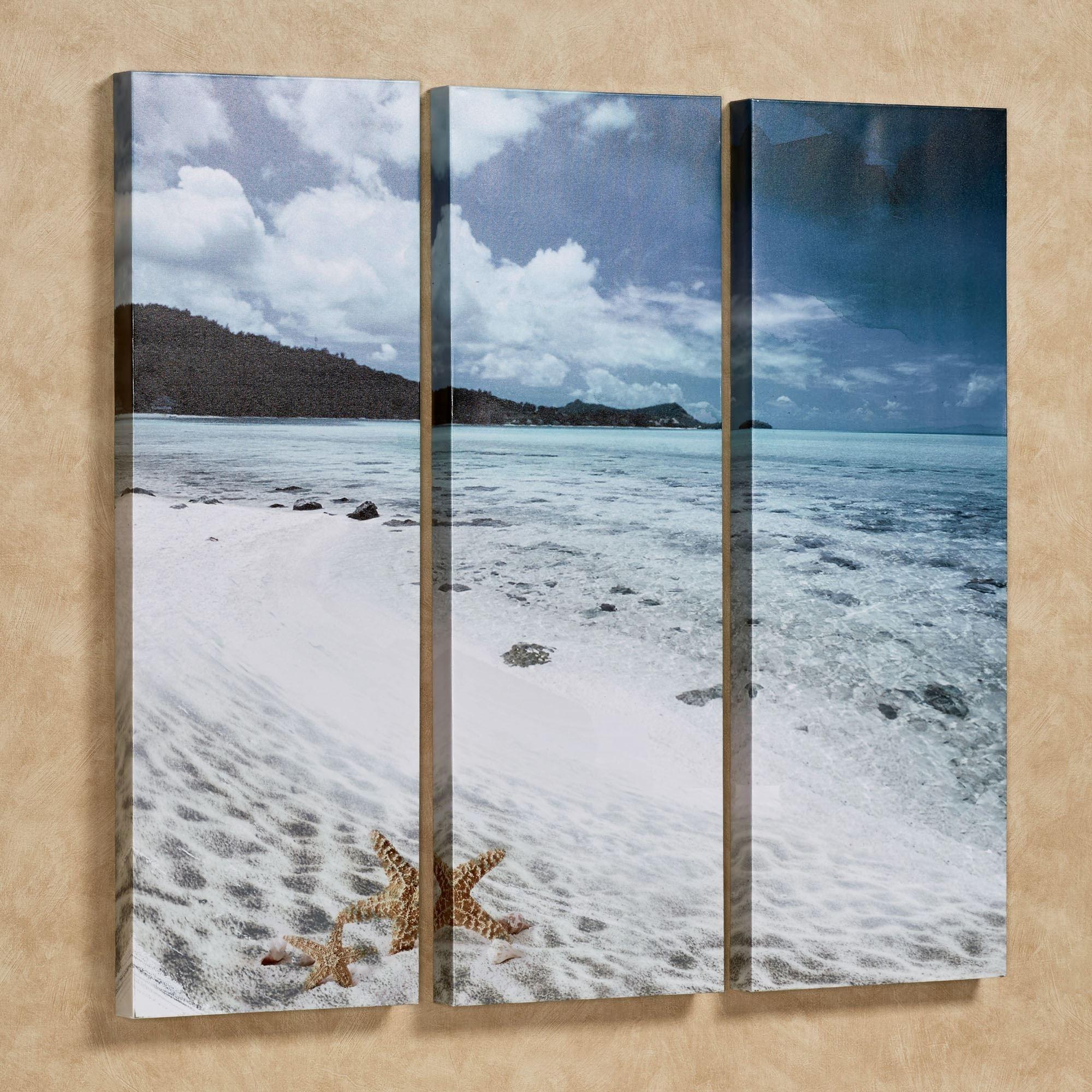 Fashionable Triptych Wall Art in Paradise Beach Triptych Canvas Wall Art Set