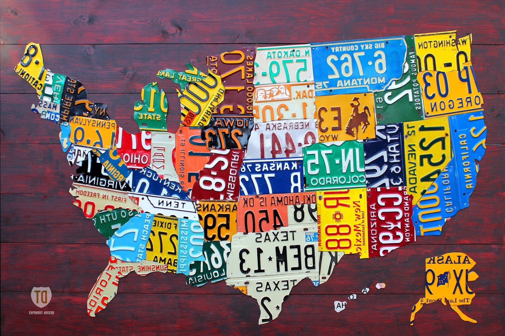 Fashionable United States Map Made Out Of License Plates Valid Wall Art Us Map In United States Map Wall Art (View 2 of 15)