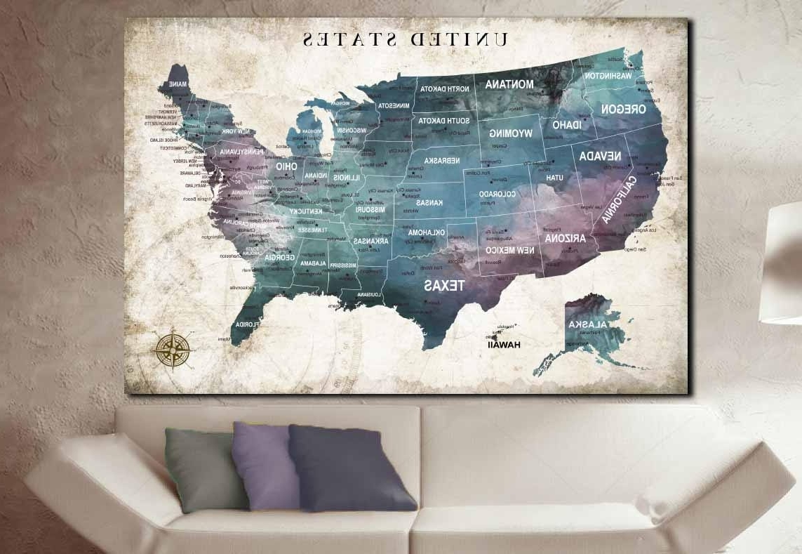 Fashionable United States Map Wall Art With Us Travel Map,us Push Pin Map,united States Map,us Map Wall Art (View 11 of 15)