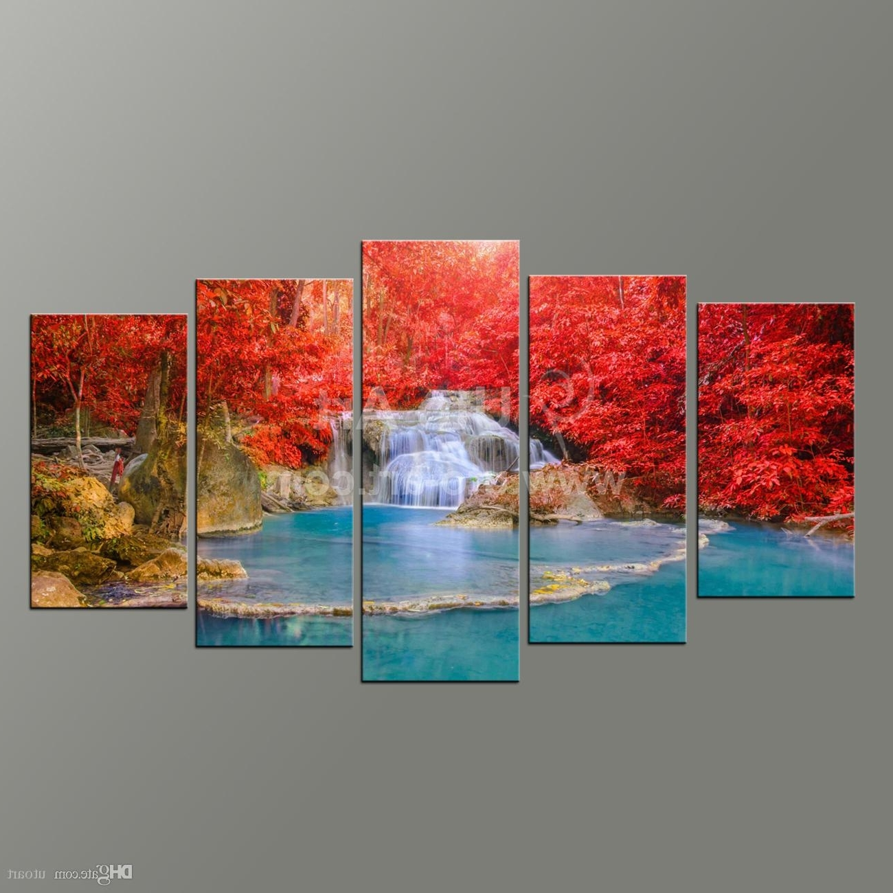 Fashionable Wall Art Paintings Inside 2018 5 Panel Wall Art Paintings Landscaping Waterfall Picture And (View 5 of 15)