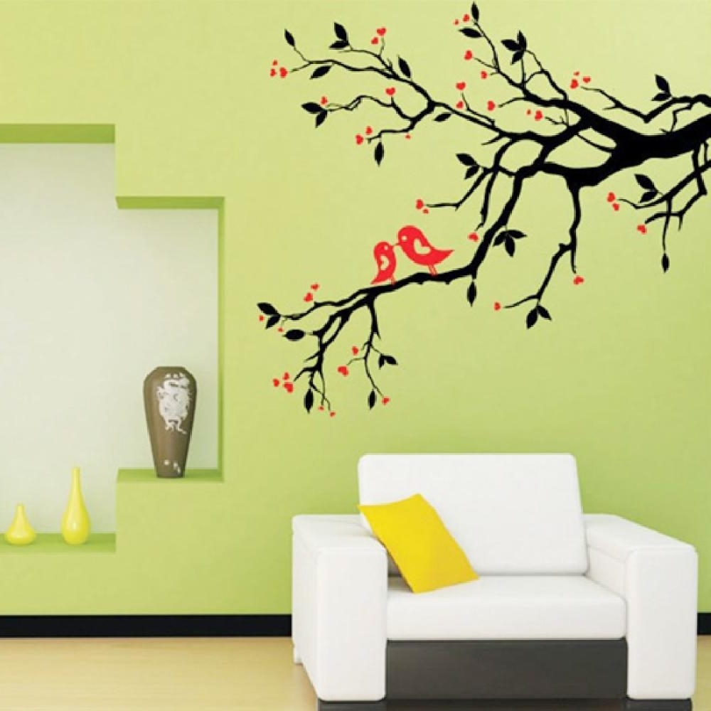 Fashionable Wall Tree Art Regarding Tree Branch Love Birds Cherry Blossom Wall Decor Decals Removable (View 11 of 15)