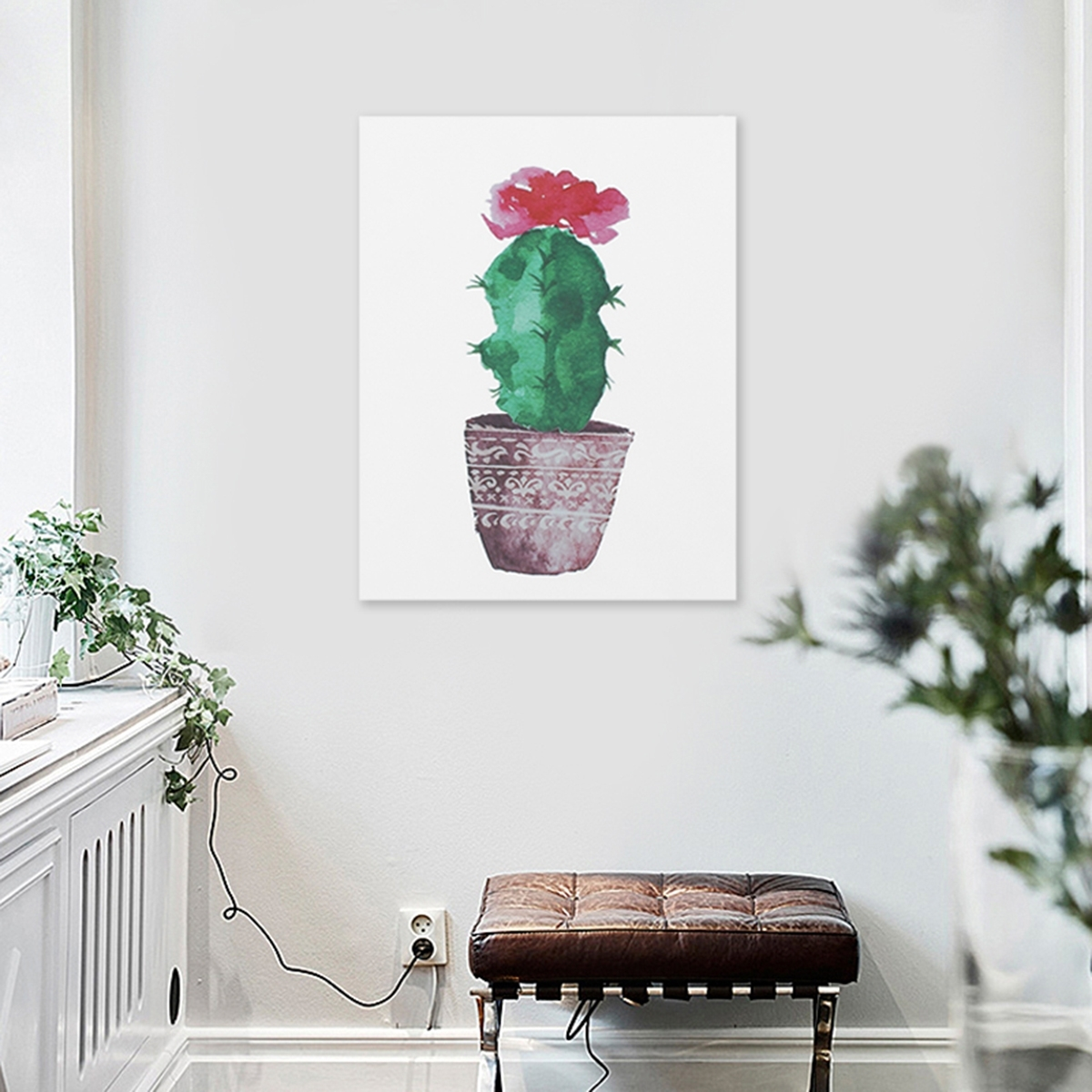 Fashionable Watercolor Canvas Cactus Painting Print Picture Modern Home Wall Art Throughout Cactus Wall Art (View 9 of 15)
