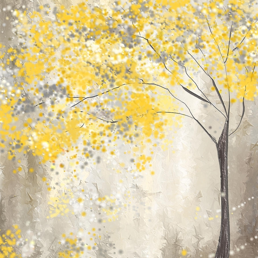 Fashionable Yellow And Gray Tree Paintinglourry Legarde Pertaining To Yellow And Grey Wall Art (View 5 of 15)