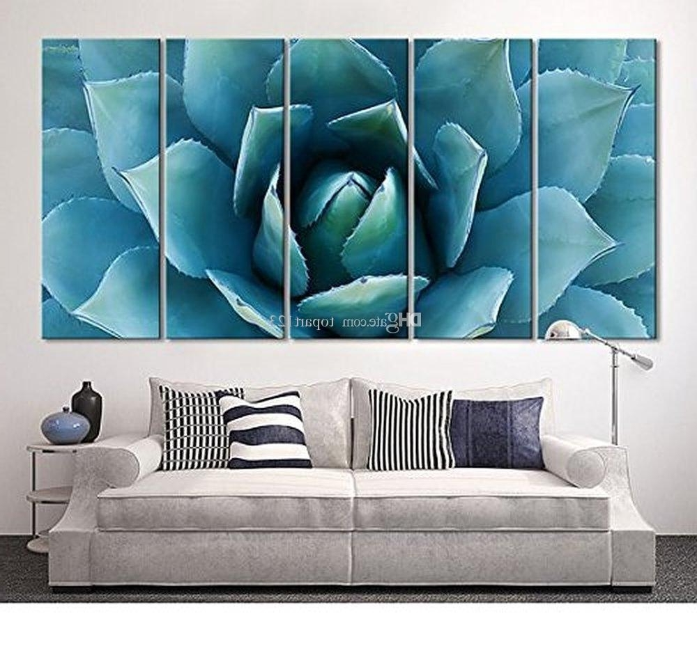 Favorite 2018 Large Wall Art Blue Agave Canvas Prints Agave Flower Large Art With Wall Art Canvas (View 2 of 15)