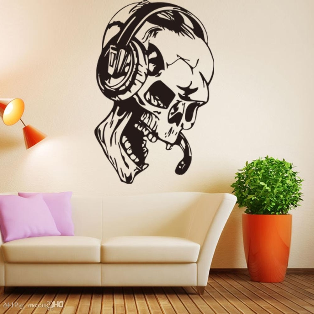 Favorite 57*87Cm Skull Listening Music Wall Mural Pvc Personality Wall With Music Wall Art (View 14 of 15)
