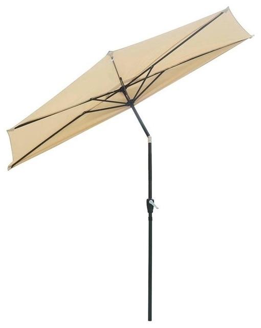 Favorite 9' Aluminum Half Patio Umbrella – Contemporary – Outdoor Umbrellas For Yescom Patio Umbrellas (View 14 of 15)