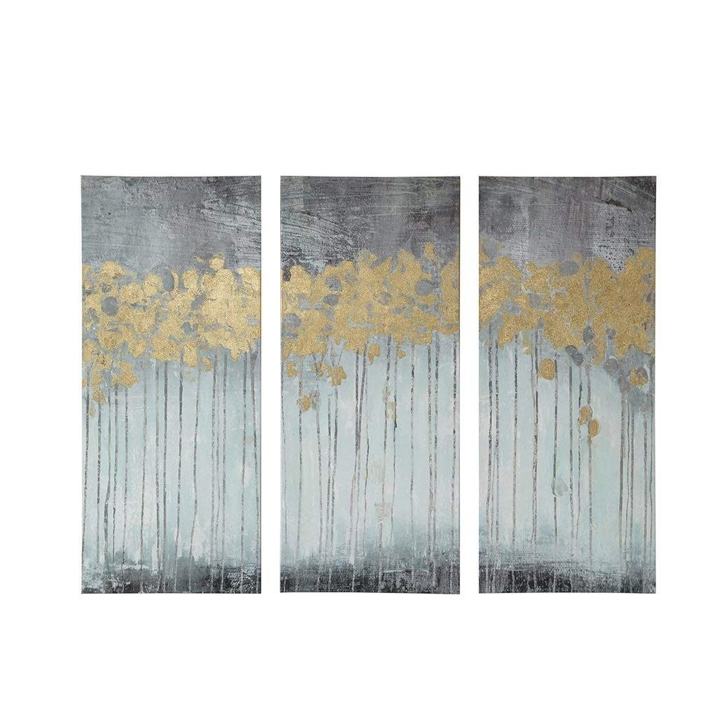 Favorite Amazon: Madison Park Evening Forest Grey Canvas Wall Art 15X35 3 Throughout Grey Wall Art (View 4 of 15)