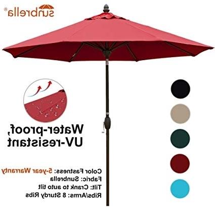Favorite Amazon : Sorara Sunbrella Patio Umbrella 9 Feet Outdoor Market Within Red Sunbrella Patio Umbrellas (View 4 of 15)