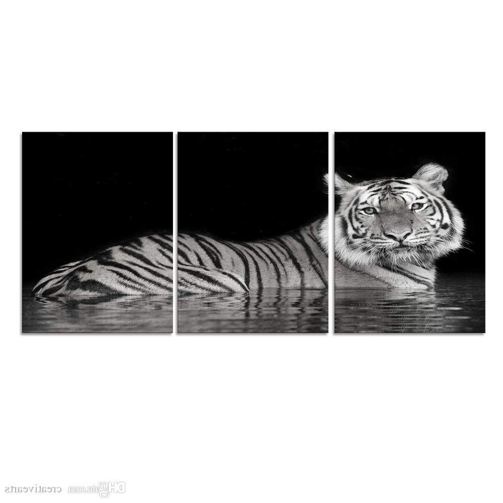 Favorite Animal Canvas Wall Art White Tiger Picture Printed On Canvas Wall Intended For Animal Canvas Wall Art (View 9 of 15)