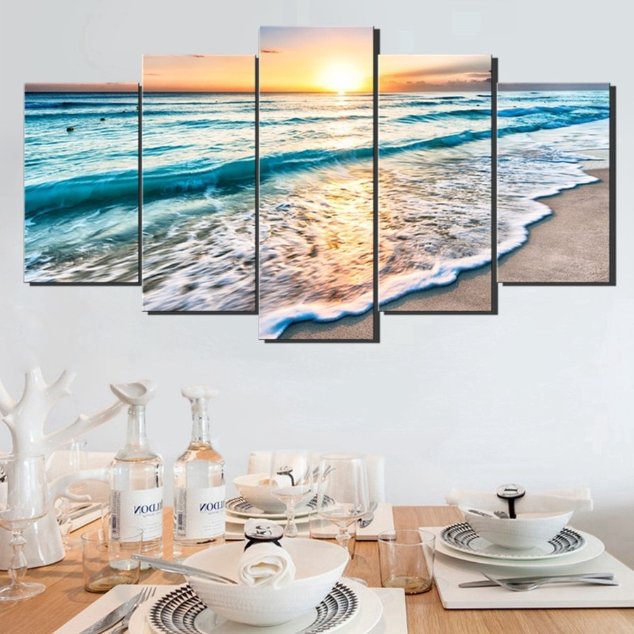 Favorite Beach Wall Art With Wall Art Sunset Beach Canvas Prints Sea Wave 5Pcs Seascape Pictures (View 10 of 15)