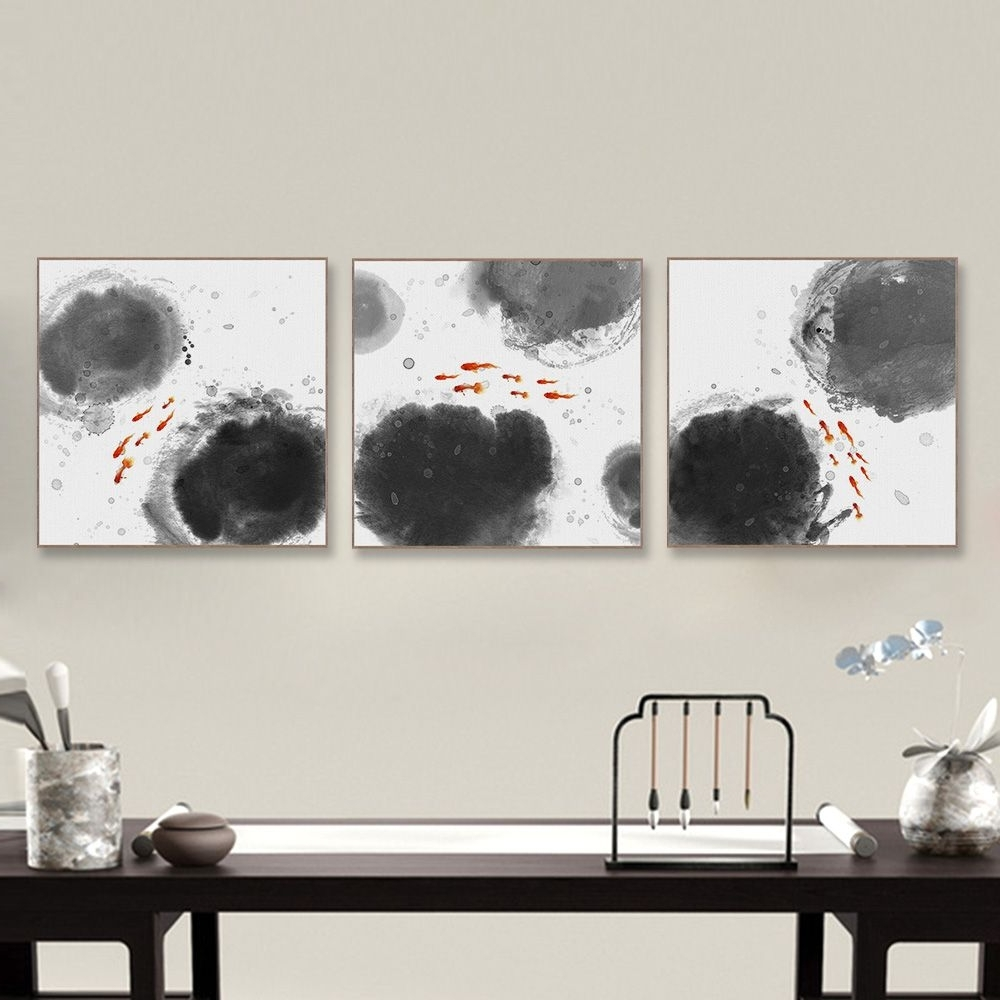 Favorite Big Wall Art Pertaining To Modern Abstract Oriental Chinese Ink Fish Canvas Print Poster (View 12 of 15)