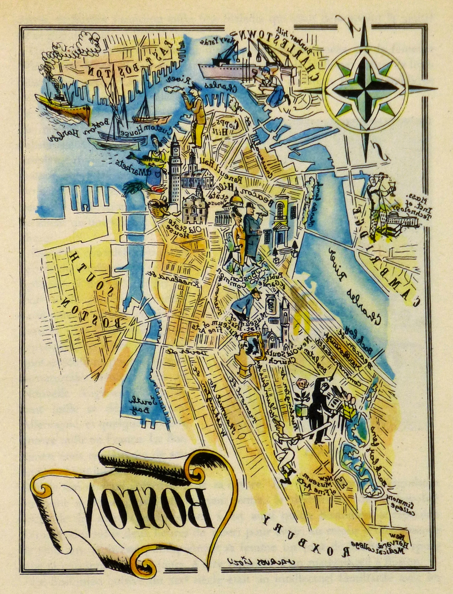Favorite Chicago Map Wall Art With Boston Pictorial Map, (View 9 of 15)