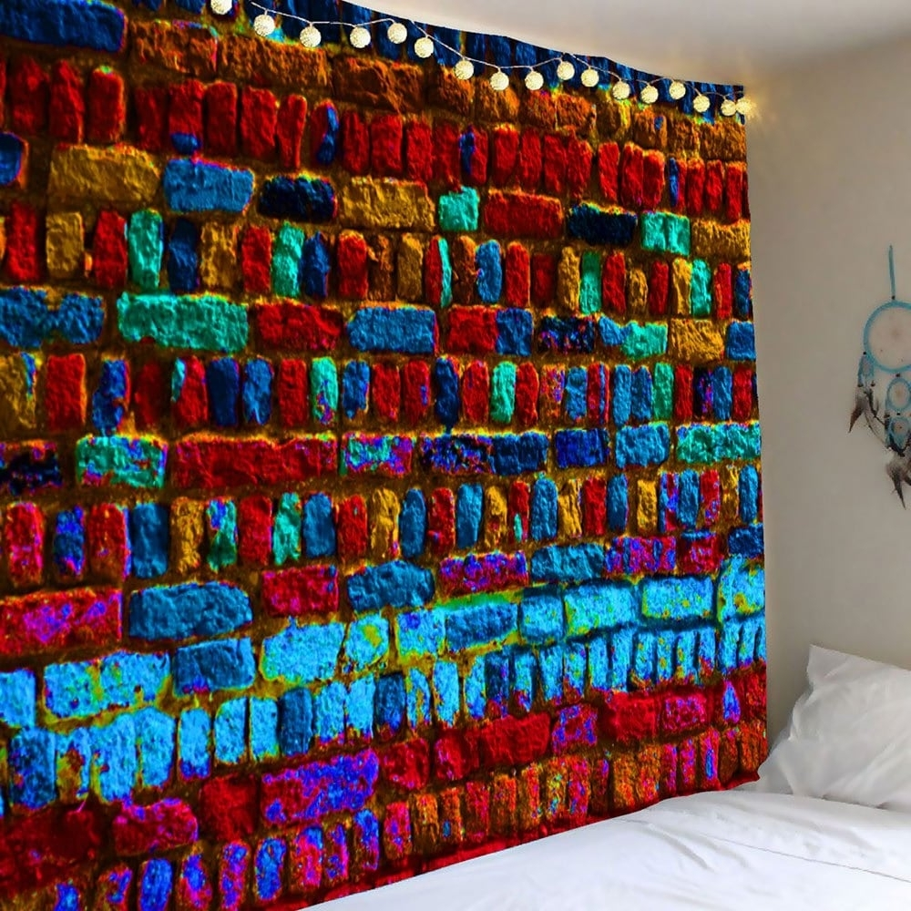 Favorite Colorful Wall Art Regarding 2018 Colorful Brick Print Wall Art Tapestry Colorful W Inch L Inch (View 6 of 15)