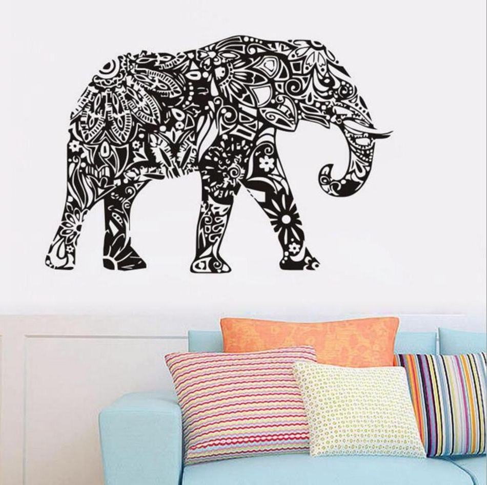 Favorite Elephant Wall Art With Regard To Elephant Wall Stickers Removable Black Pvc Wall Decal Home Decor (View 7 of 15)