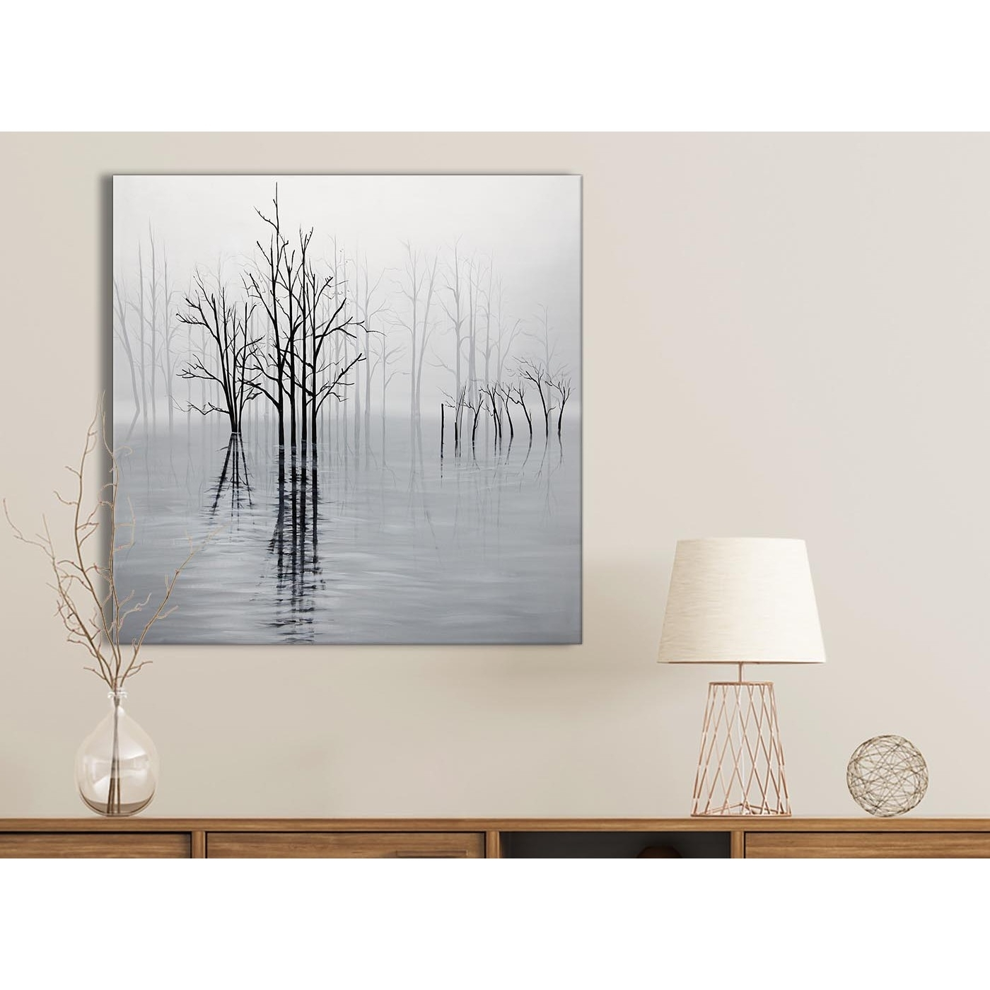 Favorite Grey And White Wall Art Regarding Black White Grey Tree Landscape Painting Kitchen Canvas Wall Art (View 8 of 15)