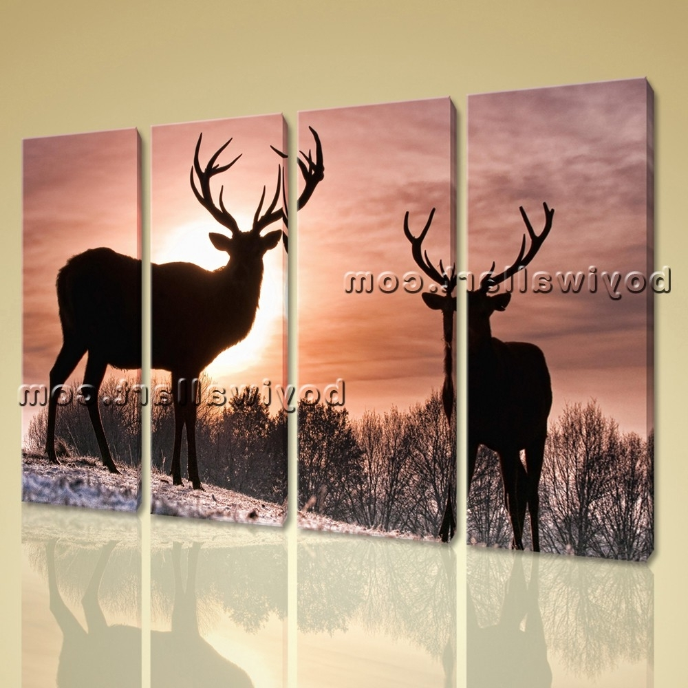 Favorite Large Whitetail Deer Animal Contemporary Canvas Wall Art Home Decor Regarding Deer Canvas Wall Art (View 7 of 15)