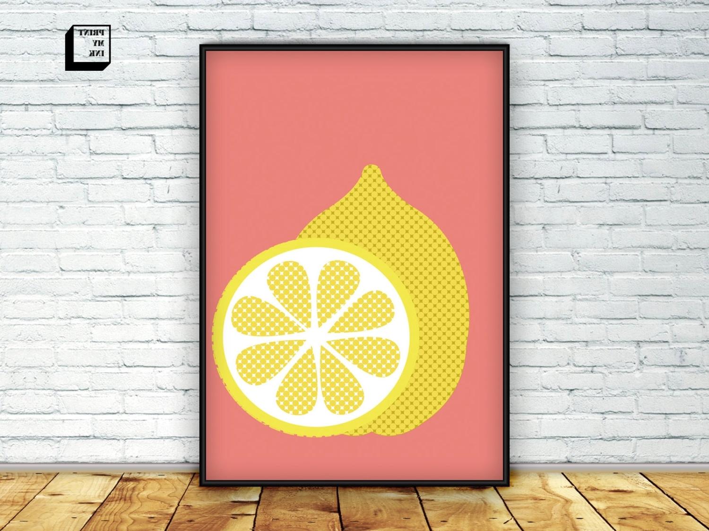 Favorite Lemon Print Lemon Wall Art Citrus Print Lemon Poster, Lemon Wall Art In Lemon Wall Art (View 15 of 15)