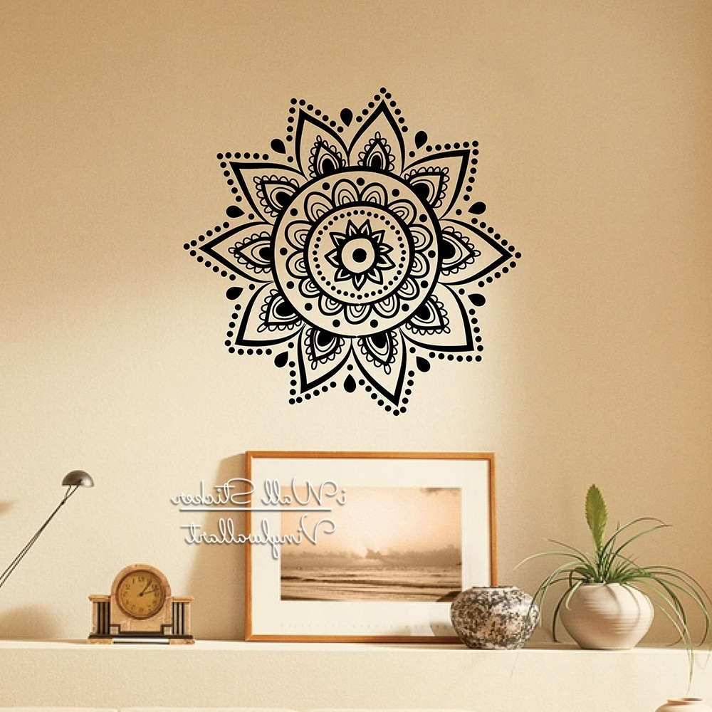 Favorite Mandala Wall Art Regarding Mandala Wall Sticker Modern Yoga Wall Decal Diy Indian Wall Decors (View 11 of 15)