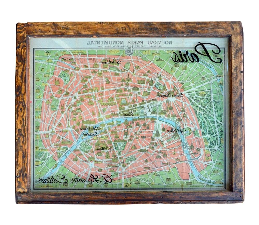 Favorite Map Of Paris Wall Art Inside Vintage Paris Map Wall Art Window Art (View 12 of 15)