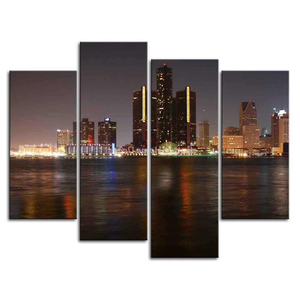 Favorite Multi Piece Wall Art In 3 Piece Wall Art Painting Detroit Skyline Print On Canvas The (View 4 of 15)