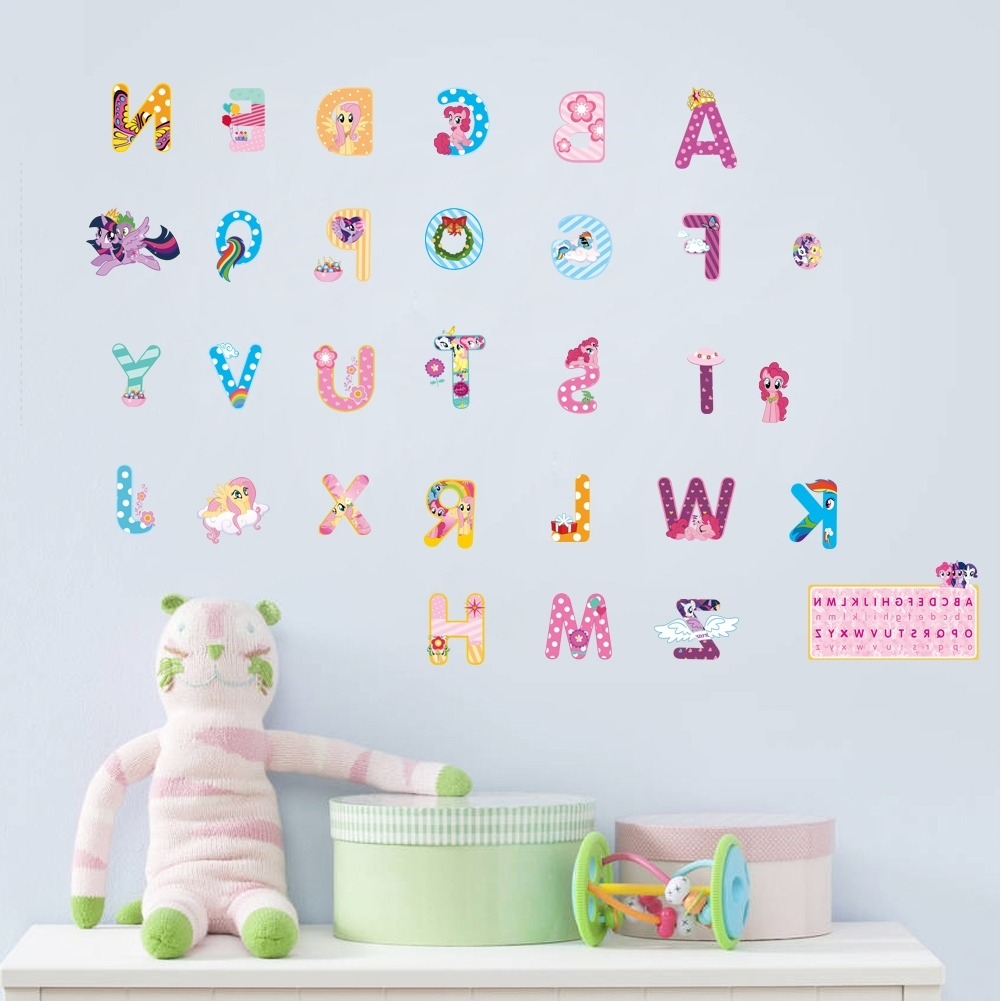 Favorite My Little Pony Wall Art Within My Little Horse Alphabet Lovely Letters Wall Stickers For Kids Rooms (View 15 of 15)