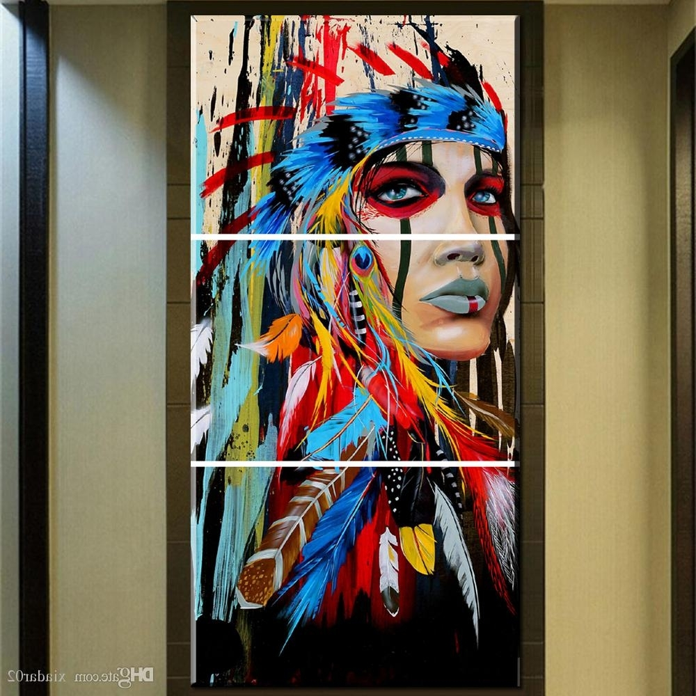 Favorite Native American Wall Art Regarding 2018 Zz678 Beauty Art Canvas Painting Native American Indian Girl (View 2 of 15)