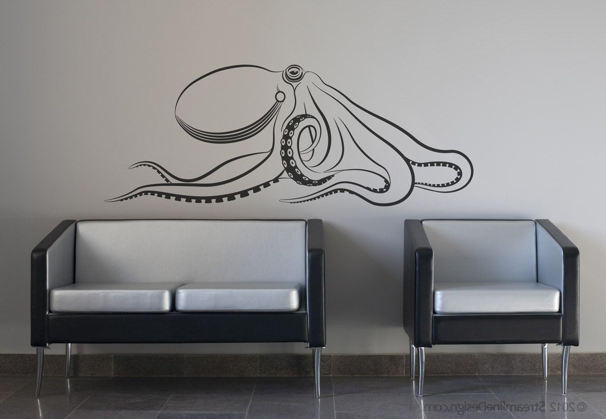 Favorite Octopus Wall Art Throughout Giant Octopus Wall Decal (View 3 of 15)