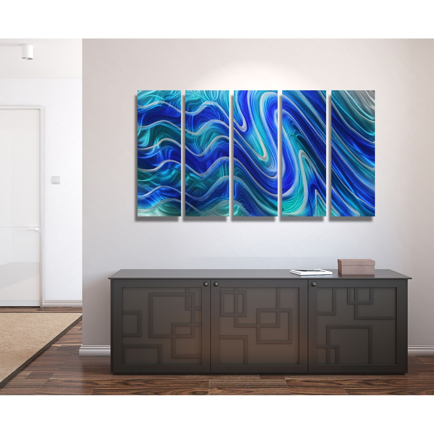 Favorite Paradise Plunge – Blue, Teal And Silver Metal Wall Art – 5 Panel With Regard To Teal Wall Art (View 15 of 15)