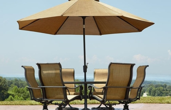 Favorite Patio Sets With Umbrellas With Regard To The Patio Table Umbrella For Fort Gathering Home Commercial (View 3 of 15)