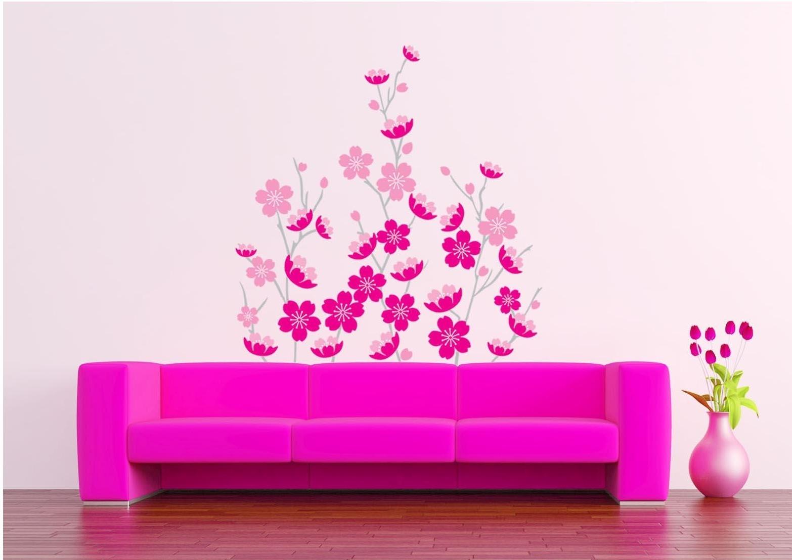 Favorite Pink Sakura Wall Art Decor Sticker Romantic Flowers Wallpaper Mural In Pink Wall Art (View 7 of 15)