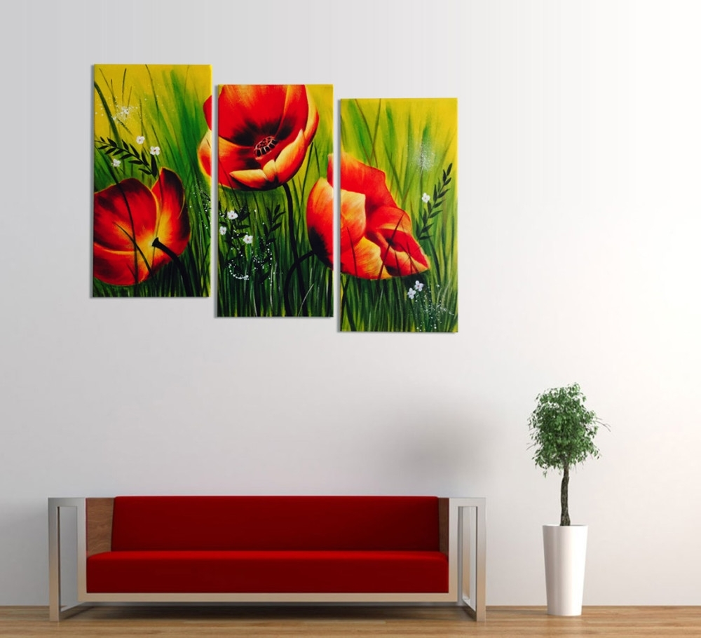 Favorite Red Poppies Floral Acrylic Painting 3 Piece Wall Art Inside Acrylic Wall Art (View 7 of 15)